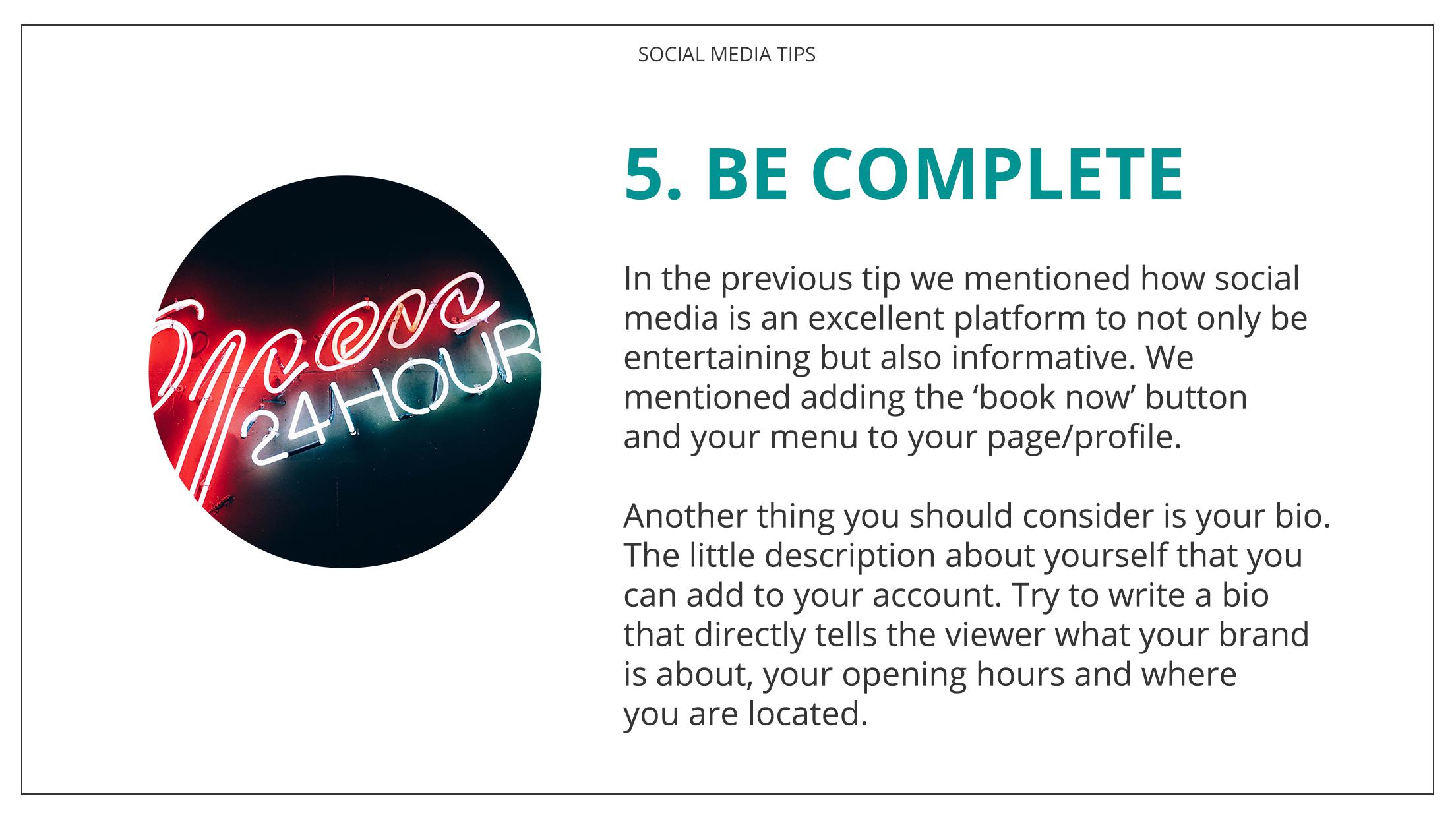 Social Media Tips Tremento for Hospitality - 5