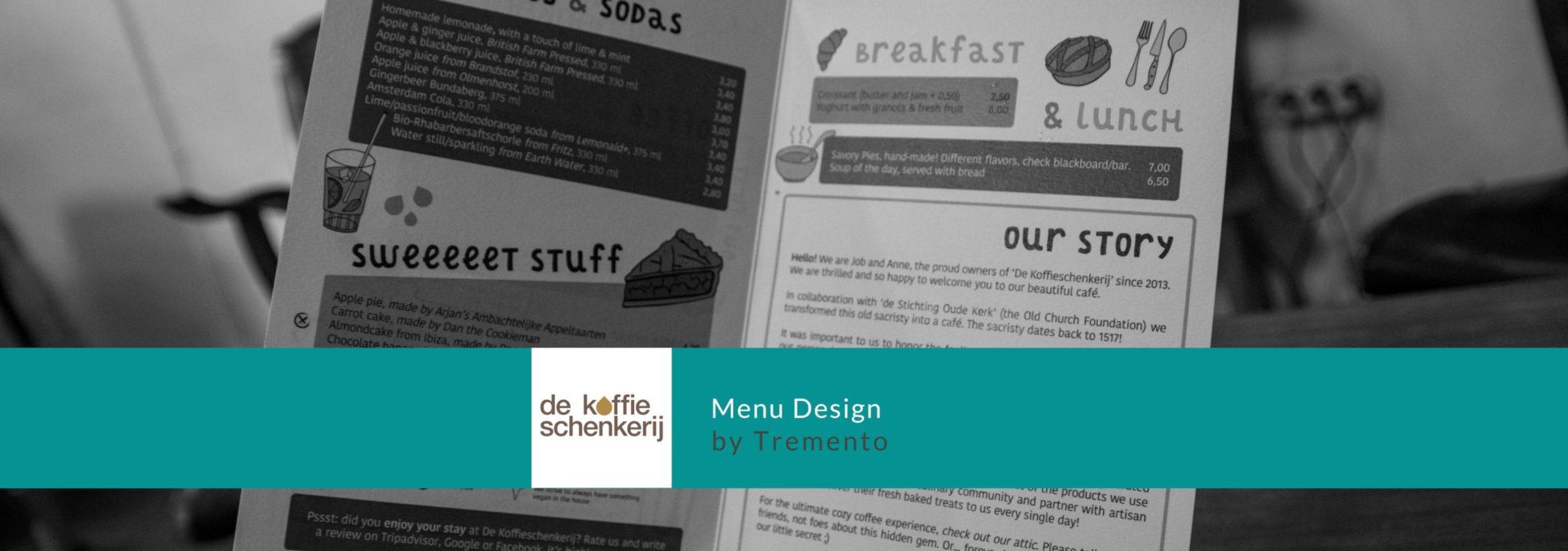 Tremento Portfolio - Menu Design - De Koffieschenkerij