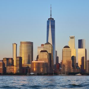 New York skyline during the golden hour.