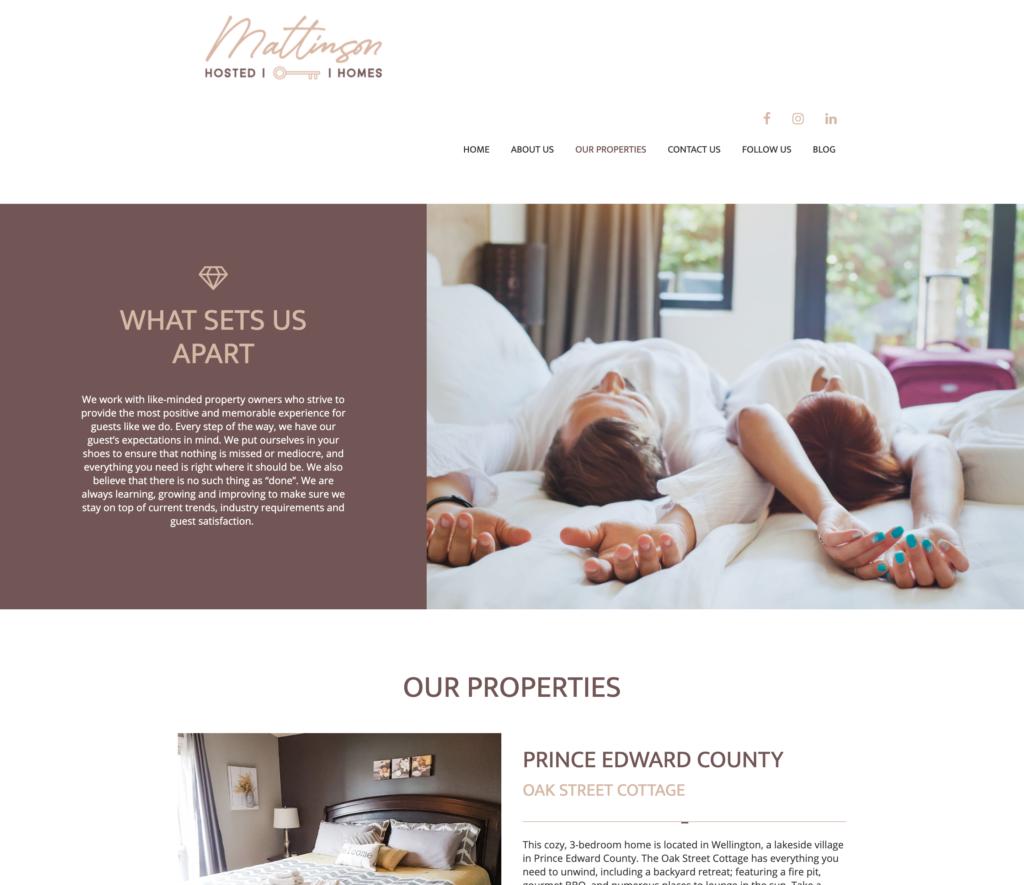 Mattison Hosted Homes AirBnB website design